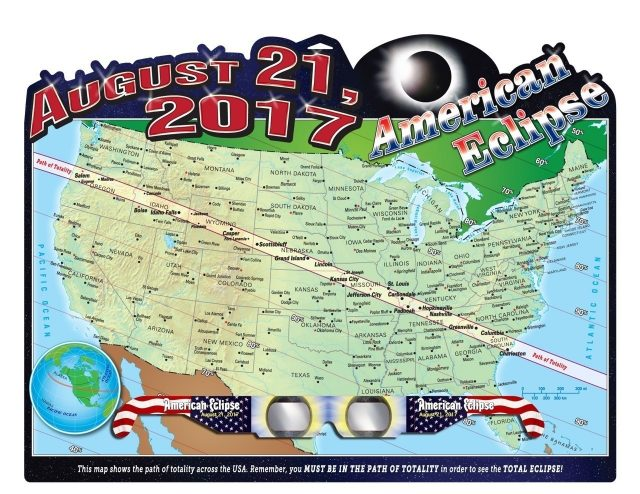 See on this where the total solar eclipse will cross the US on Aug. 21, 2017! (PRNewsFoto/American Paper Optics)