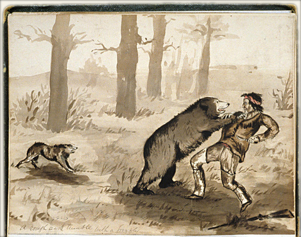A rough and tumble with a grizzly by H. Bullock Webster, watercolor