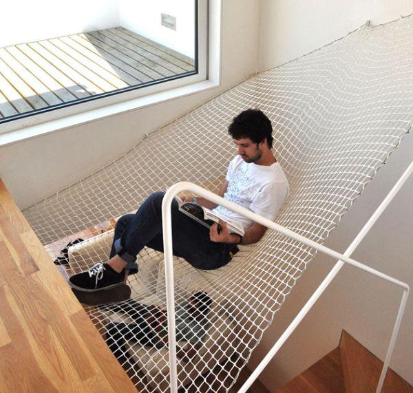 stairs indoor hammock