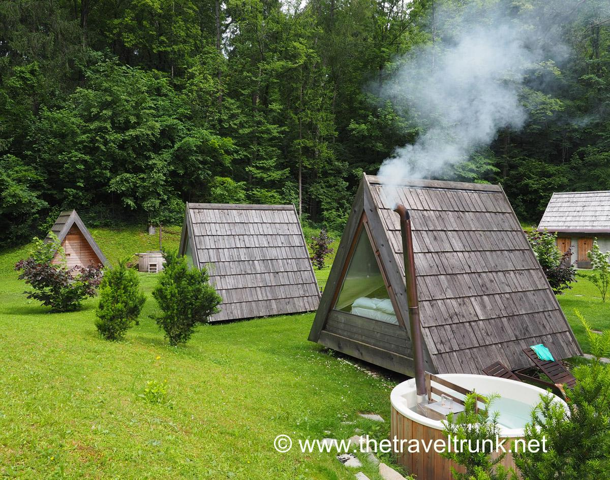 Glamping at Sava Hotels camp site near to Lake Bled, a great outdoor experience.