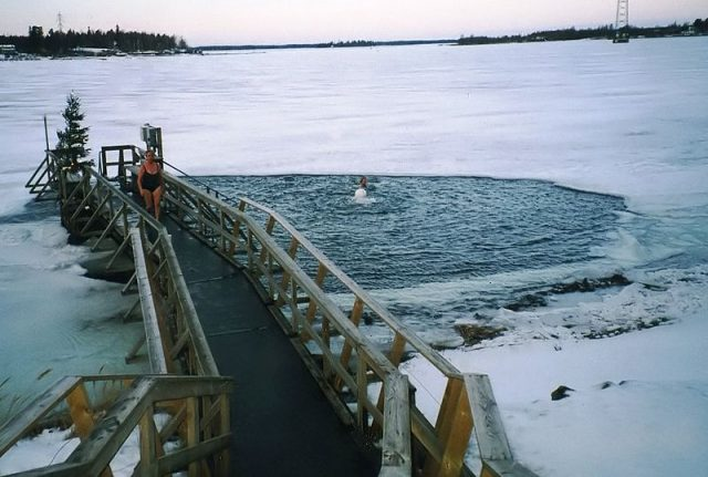 Ice swimming in Finland. Photo credit
