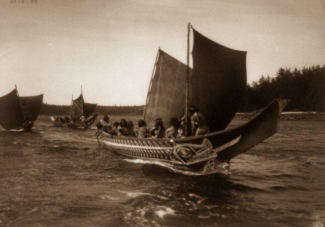 Kwakiutl people in canoes in British Columbia.1914.