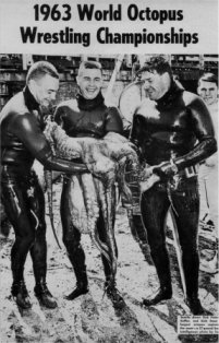 Three divers holding the largest catch of the 1963 World Octopus Wrestling Championships, a 57-pound giant Pacific octopus. Fair use,