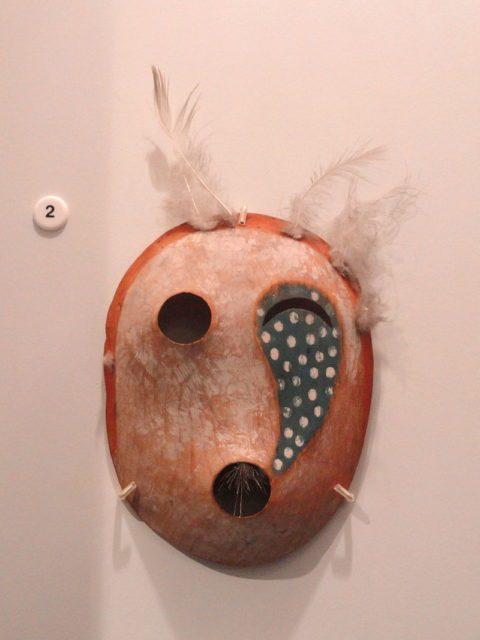 Dance mask of tunghat, Southwest Alaska Eskimo, acquired 1915.Source