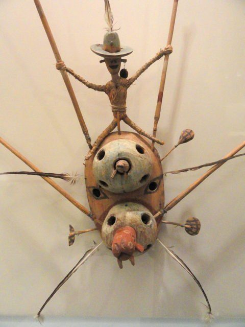 Dance mask of tunghat, Southwest Alaska collected in Kushunuk in 1905.
