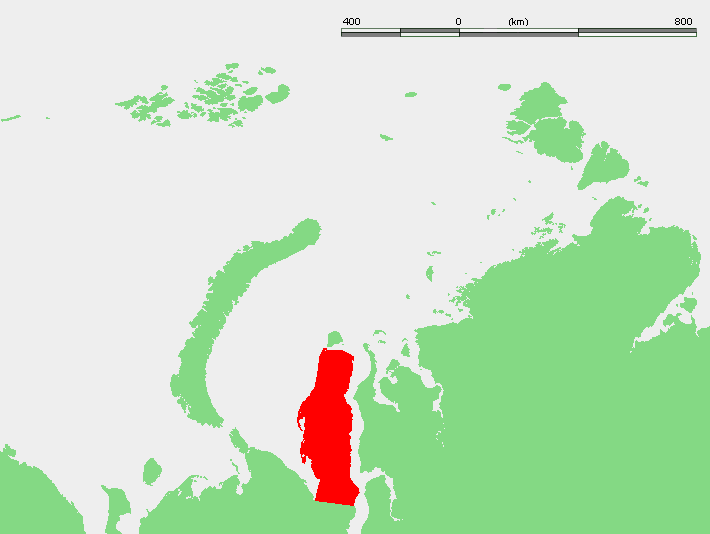 Map showing the location of the Yamal Peninsula