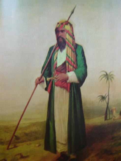 "Image source: ""The Pilgrim"", illustration from Burton's Personal Narrative (Burton disguised as ""Haji Abdullah"", 1853)."