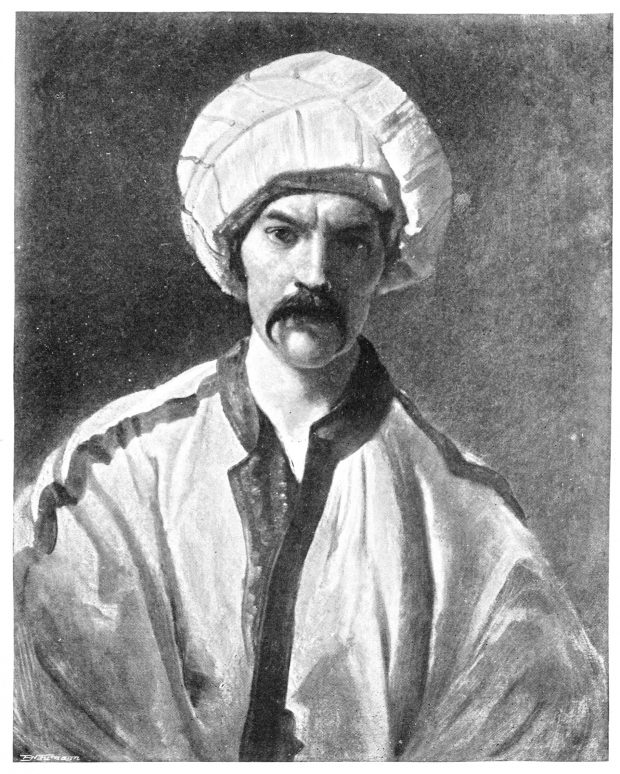 "Image source: Burton in Persian disguise as ""Mirza Abdullah the Bushri"" (ca. 1849–50)."