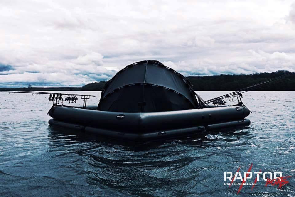 Awesome floating platform keeps you safe and dry while for Floating fishing platform