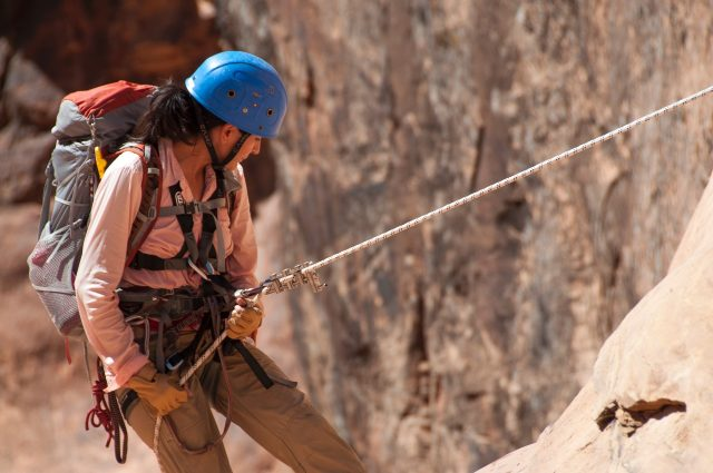 Climbing with equipment