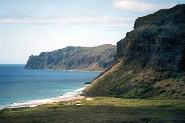 View of the rugged cliffs of windward Niʻihau (the northeastern shore) Image credit: Christopher P. Becker