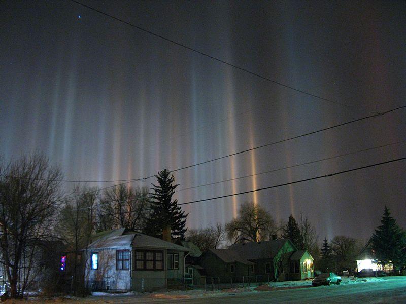 Light pillars over Wyoming