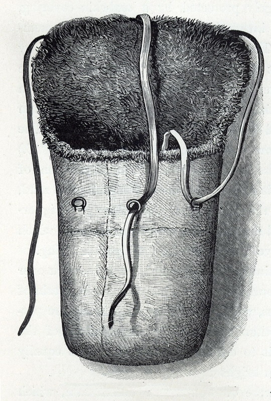 A three-person buffalo sleeping bag used during Arctic exploration circa 1880