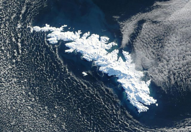 NASA satellite image of South Georgia Island covered with snow