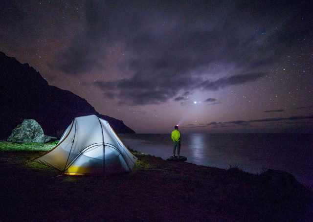 LED tent lights scream romance and are much easier to deal with than headlamps