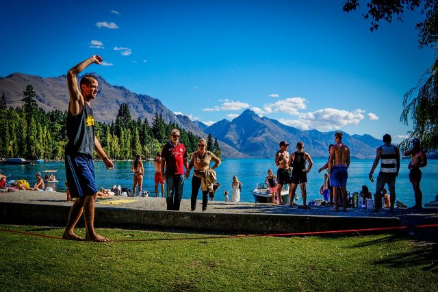 Slacklining in the park is low stress, and lots of fun.