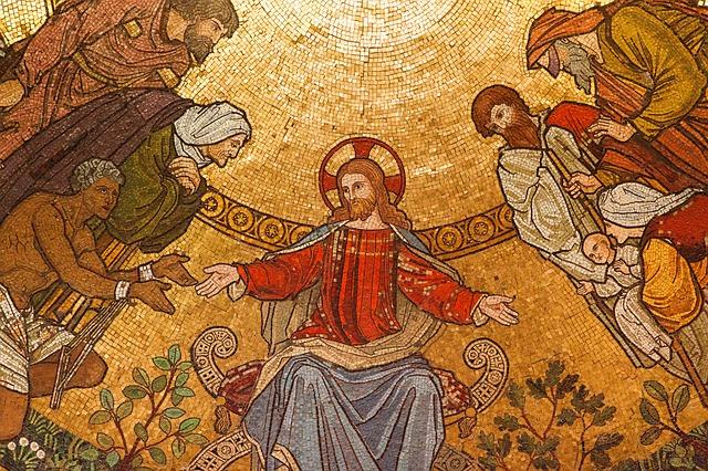 Jesus depicted talking to people