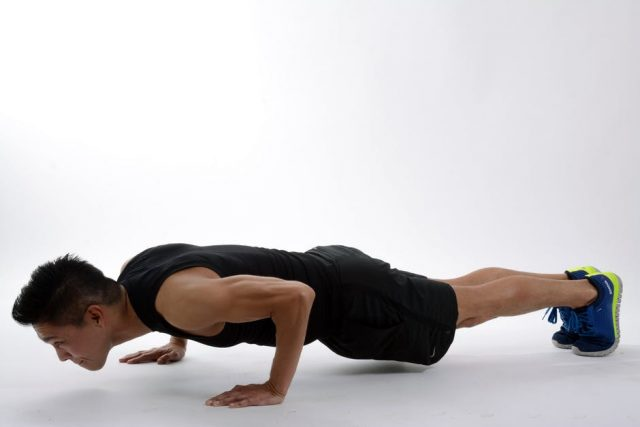 When you chaturanga, your elbows should be right at your sides.