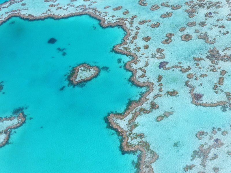 Looking down on a section of the iconic Great Barrier Reef