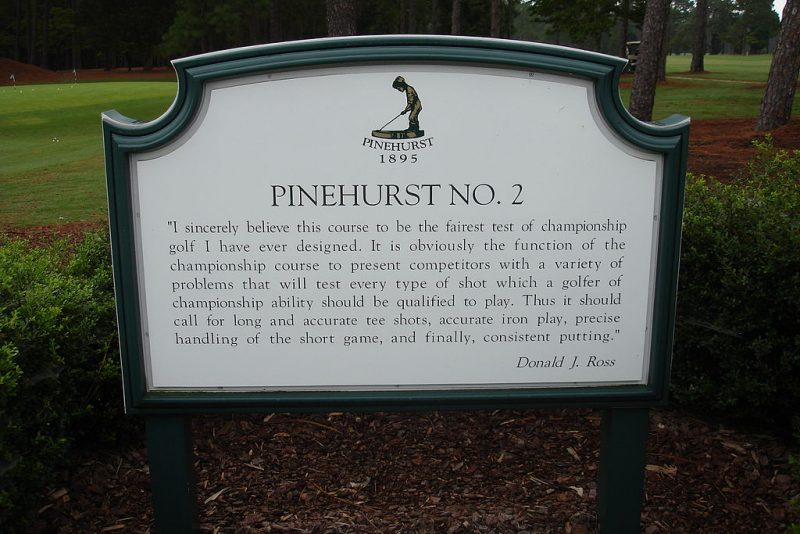 Pinehurst No. 2 sign.