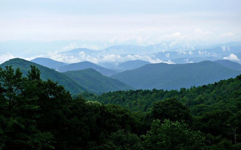 The Blue Ridge Mountains as seen from the Blue Ridge Parkway