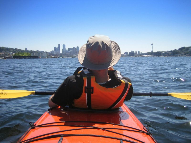 Kayaking in a double on Lake Union in Seattle, Washington, United States