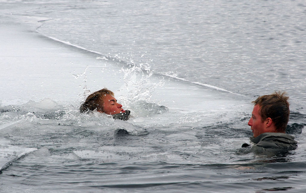 Person in cold water