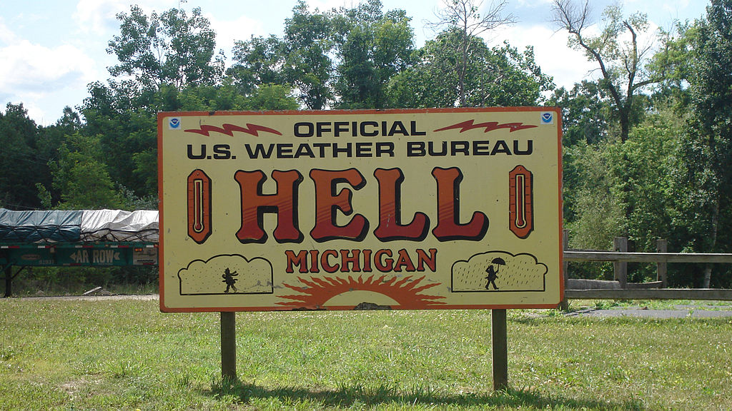 U.S. weather station sign in Hell - Author: Sswonk - CC BY-SA 3.0