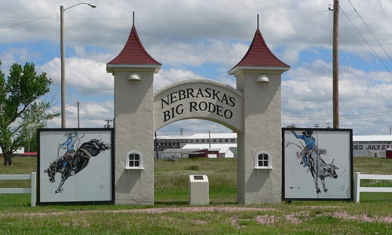 The entrance of Garfield County Frontier Fairgrounds, site of Nebraska's Big Rodeo.