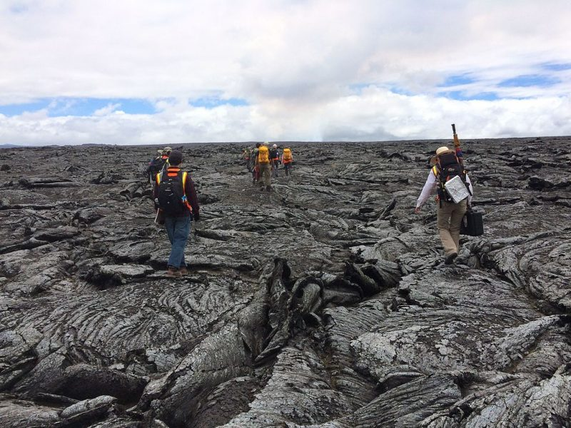 Exploring a lava field in Hawaii