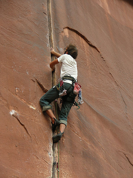 Climbing cracks is all about wedging yourself in and working the angles.