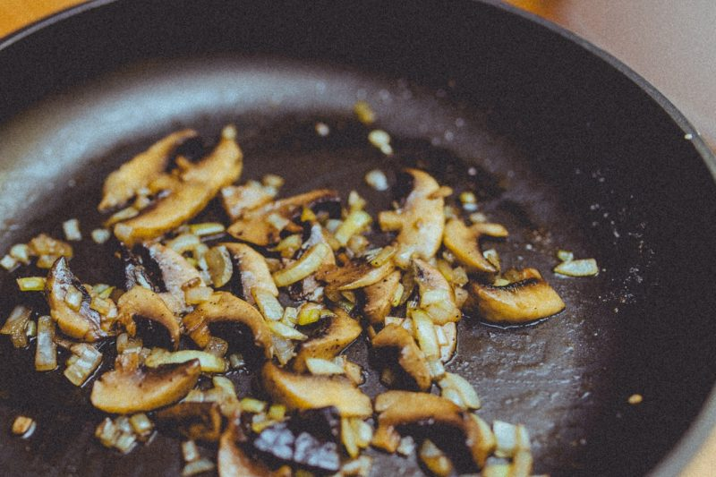 Carmelizing onions and mushrooms together is a classic combo.