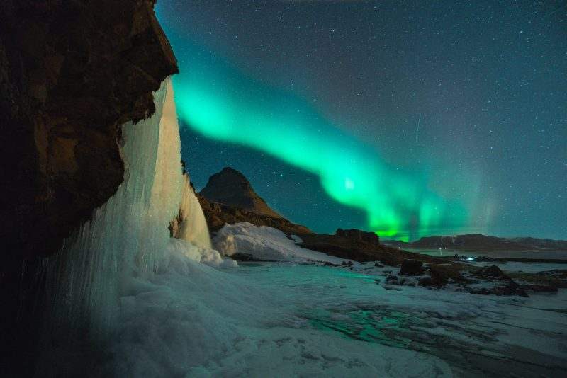 Amazing night sky in Iceland