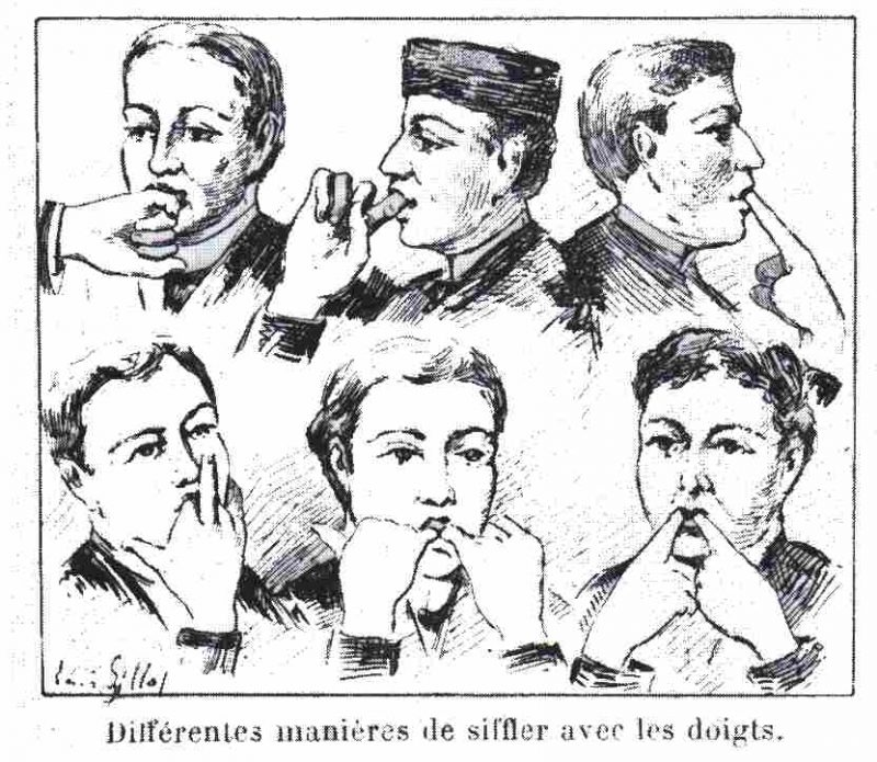 Different ways of whistling with the fingers