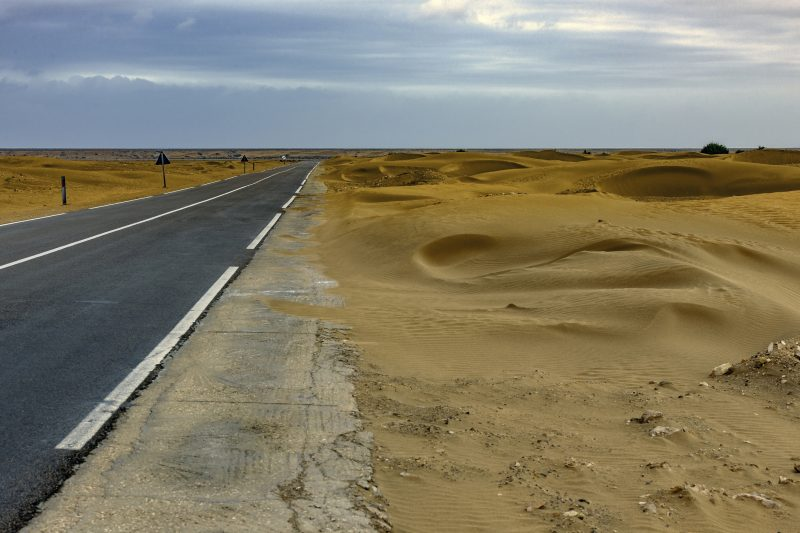 Road from Tan-Tan to Tarfaya before a storm, Morocco, North Africa