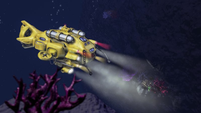 Deep sea research submarine rendering with deep ocean cliff scene