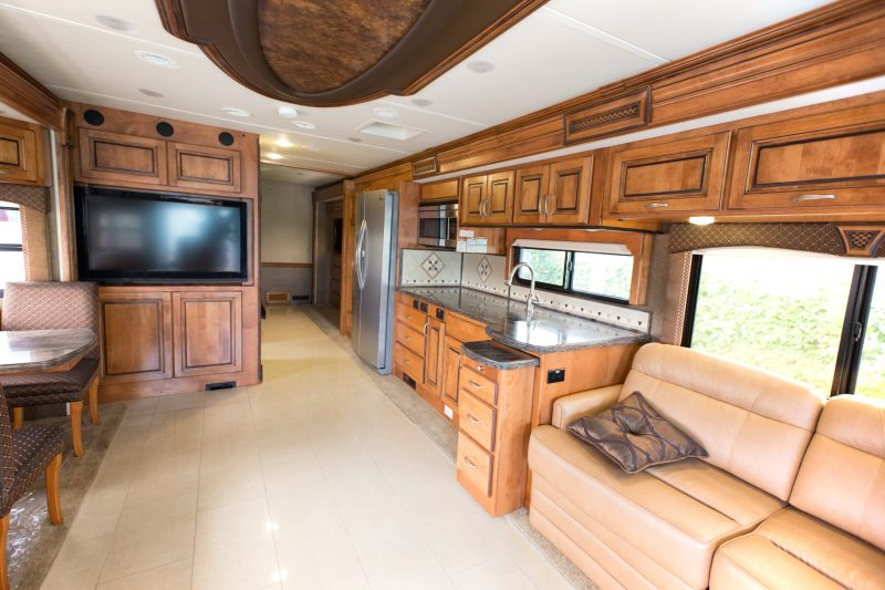 A view of the inside of a new mobile home – what a luxurious space!