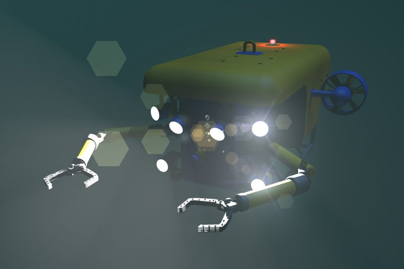 High quality 3D rendering of an ROV submersible approaching the camera