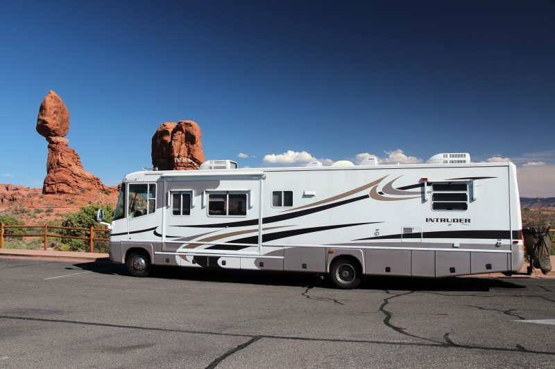 A recreational vehicle parked in Arches National Park on June 21, 2013, in Moab, Utah shows how nice these moving homes can be.