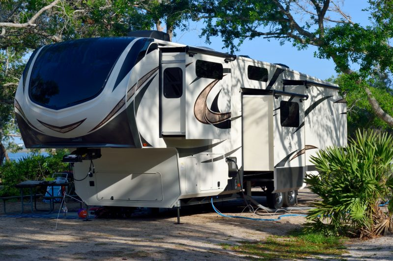 How nice is this! A camper van nicely set up at a campsite Florida, USA