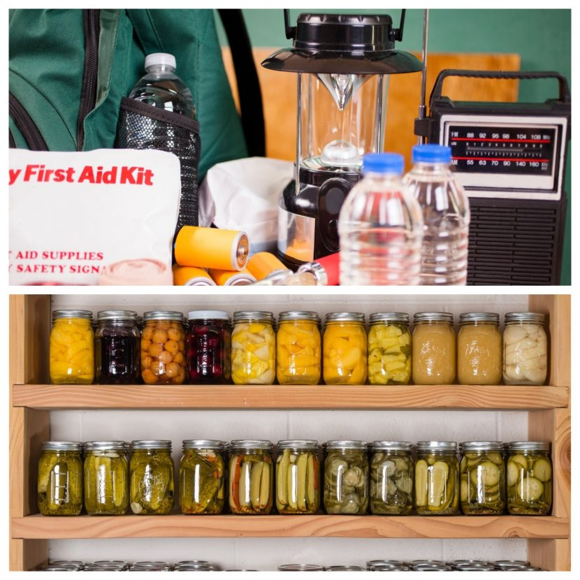 Simple Disaster Preparation Steps include storing and stockpiling food with a long shelf-life and sorting out your first aid kit.