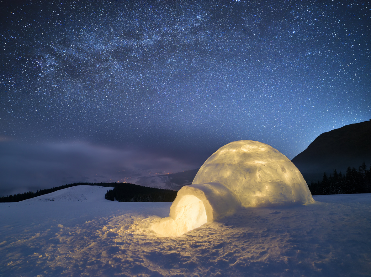Ice constructions have allowed people to survive in cold conditions.
