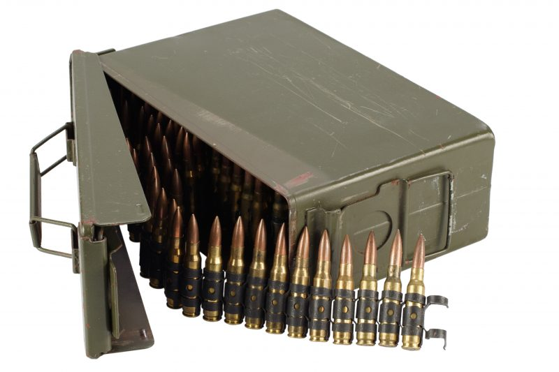 U.S. Army Ammo Box with an ammunition belt. Use Ammo Cans to store lots of different things
