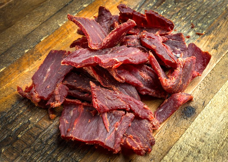Beef Jerky is preserved with salt.