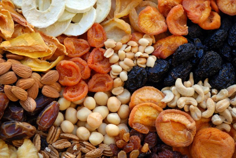 Dried fruits and nuts keep well and don't take up much space.