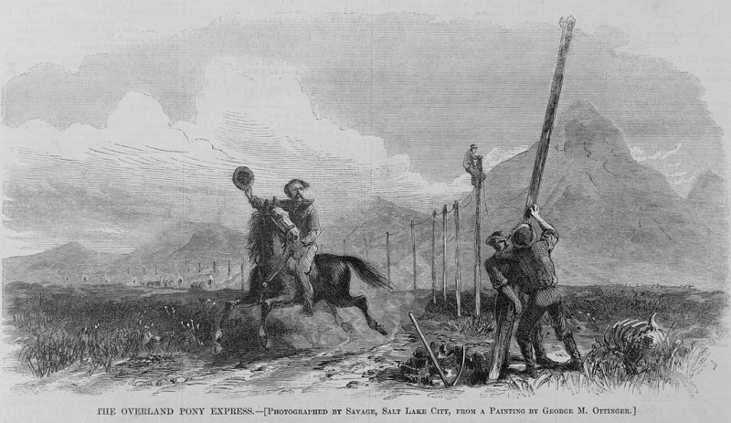 Wood engraving in Harper's Weekly depicting the construction of the first Transcontinental Telegraph with a Pony Express rider passing below.