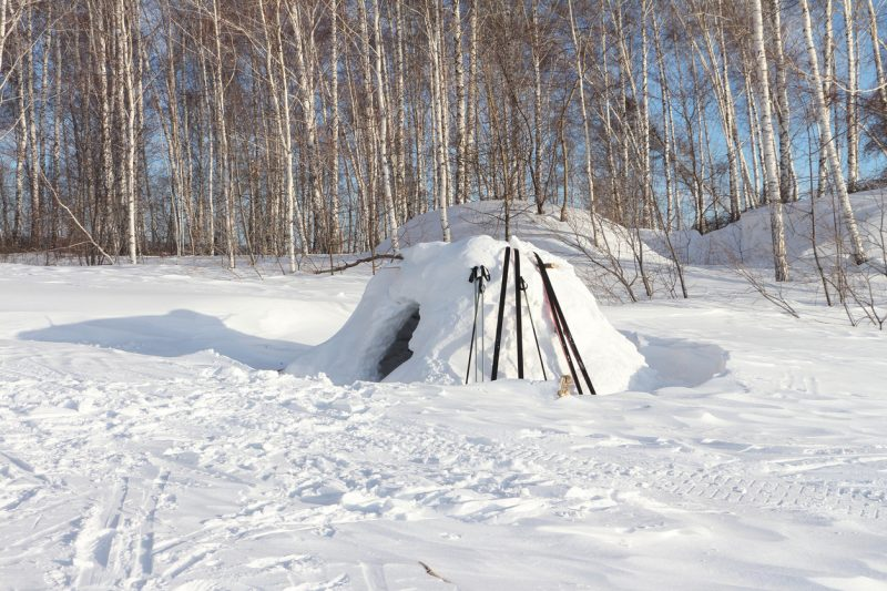 Make the main part of the snow cave large enough to lie down in but not any larger than necessary
