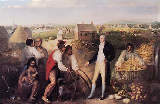 Benjamin Hawkins, seen here on his plantation, teaches Creek Native Americans how to use European technology.