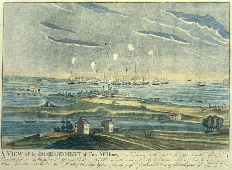 The bombardment of Fort McHenry