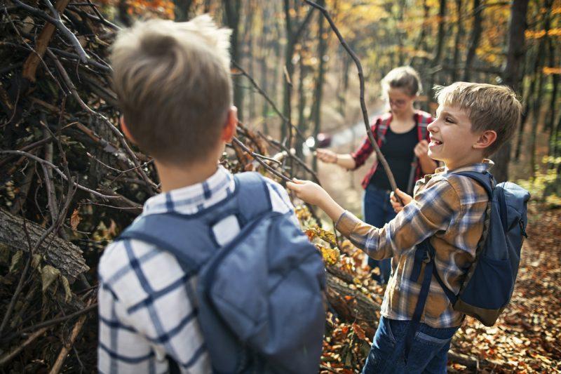 Children having fun building stick shelter in autumn forest